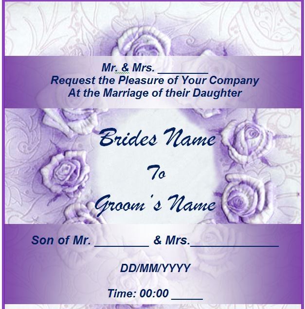 Free Wedding Invitation Template From Myexceltemplates