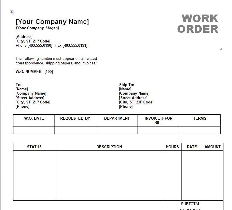 work order form template word