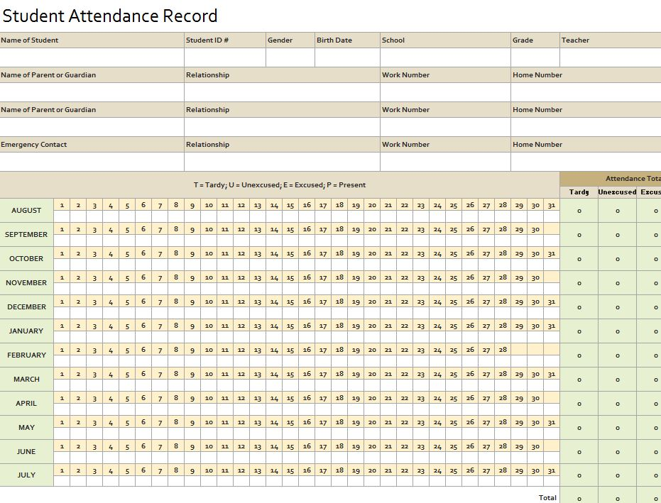 Screenshot of the Attendance Record Template Excel