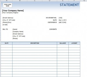 My Excel Templates  Bill Statement Template
