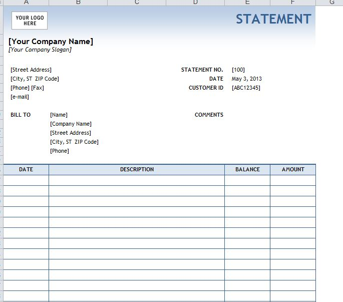 Billing statement template for Free bank statement template