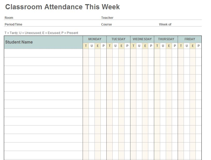 Class Attendance Template screenshot