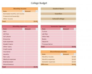 Screenshot of the college budget worksheet