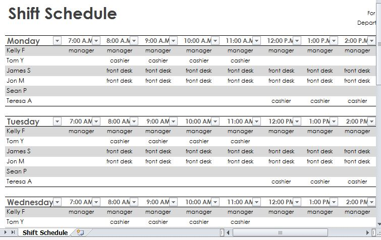 employee shift schedule