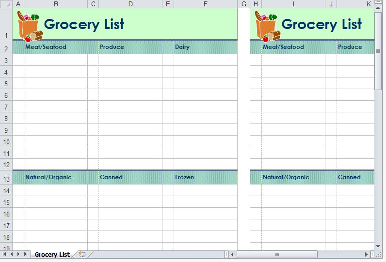 Grocery List Template – Grocery List Template Excel Free Download