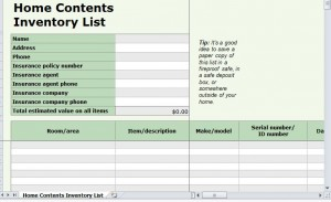 Home Inventory List Template