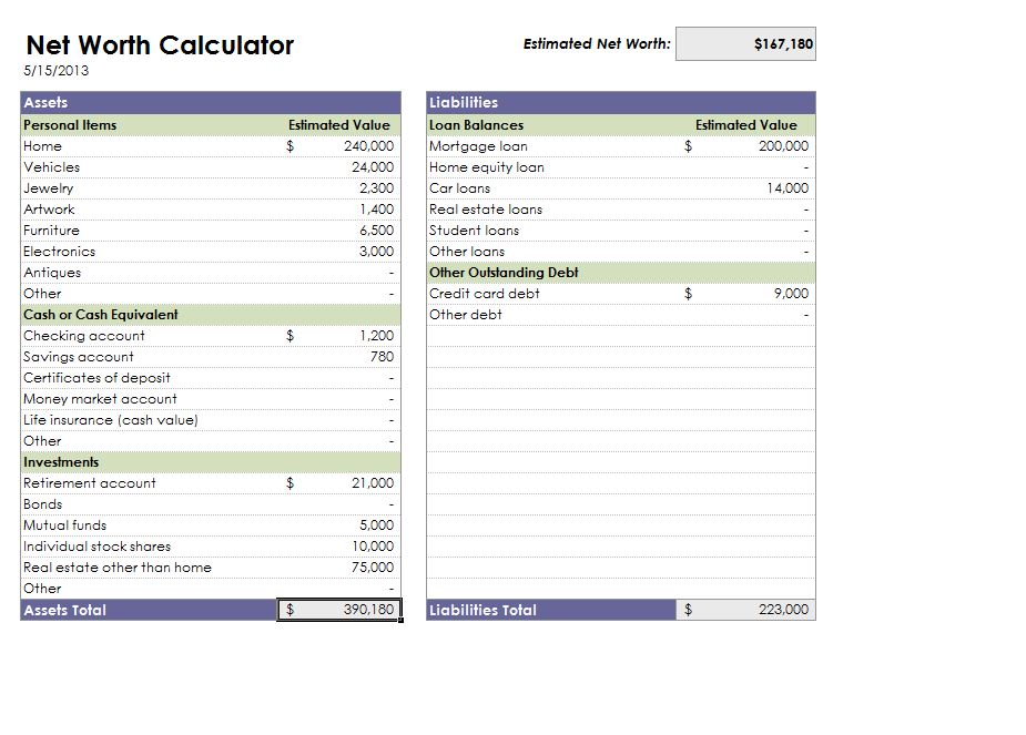 Screenshot of the Net Worth Calculator