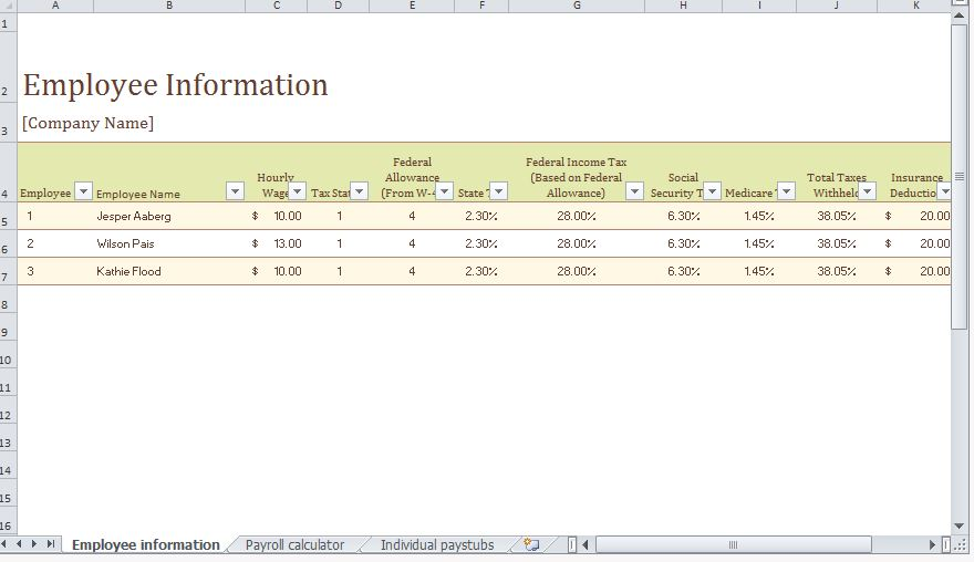 My Excel Templates  Excel Templates For Payroll