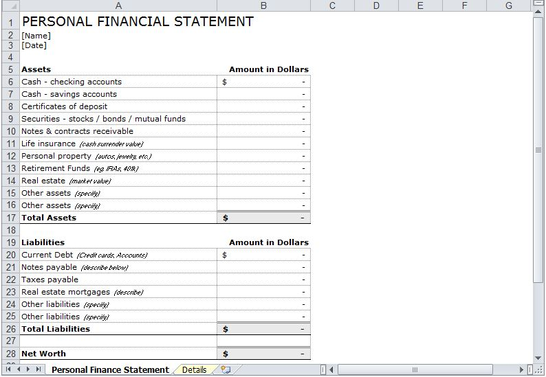 Statement Template Personal Financial Statement Template Excel dfvlO4CP