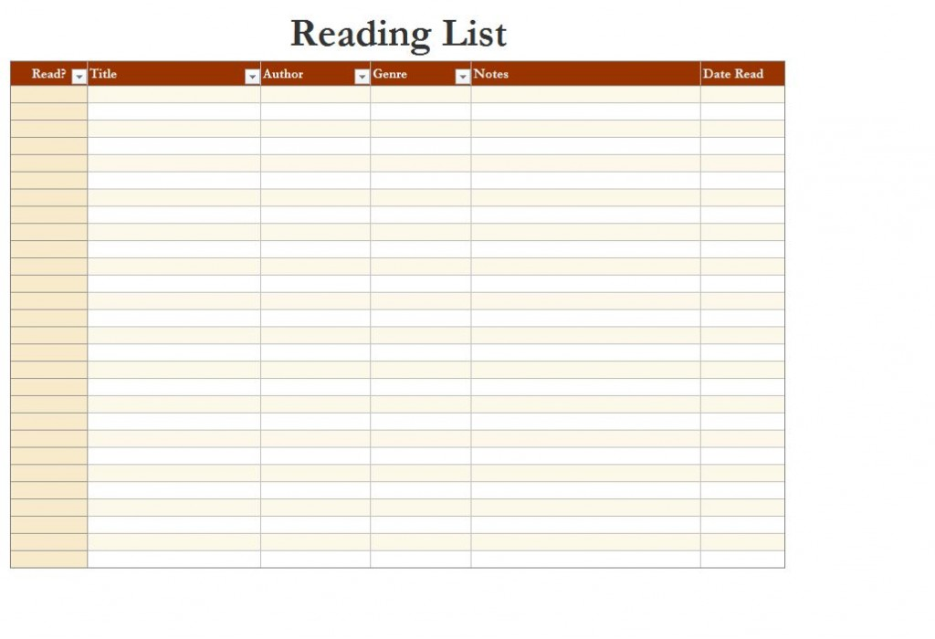 Screenshot of the Reading List Template