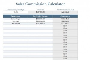 Screenshot of the Sales Commission Calculator