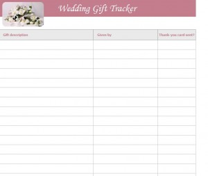 FREE Wedding Gift List Template