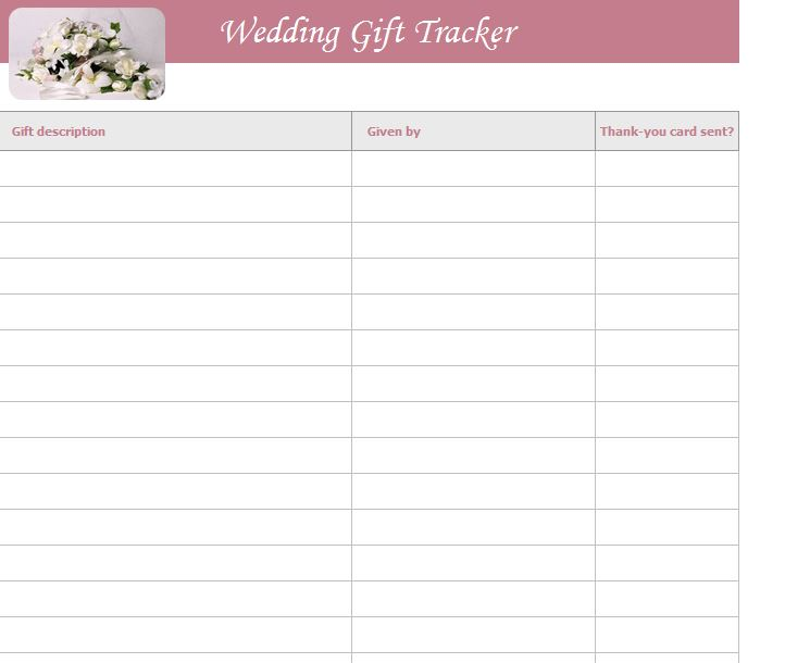 Wedding gift list template free wedding gift list template for Wedding shower gift list template