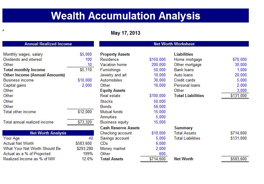 screenshot of the wealth accumulation calculator