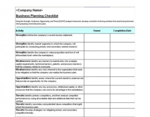 Business Plan Checklist Screenshot