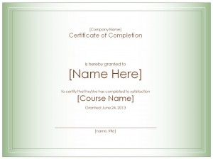 Photo of the Certificate of Completion Template