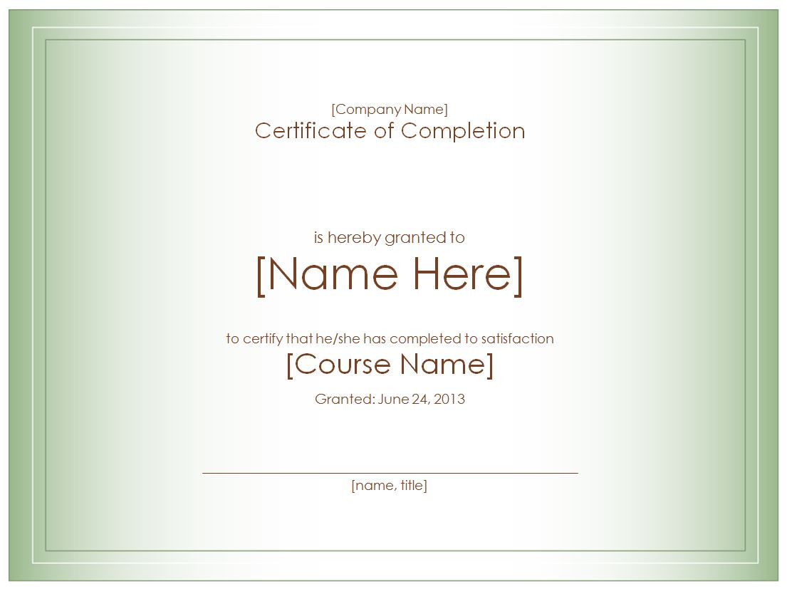 Certificate of Completion Template – Certificates of Completion Templates