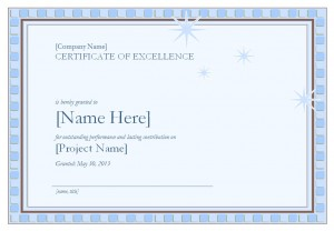 Photo of the Certificate of Excellence Template