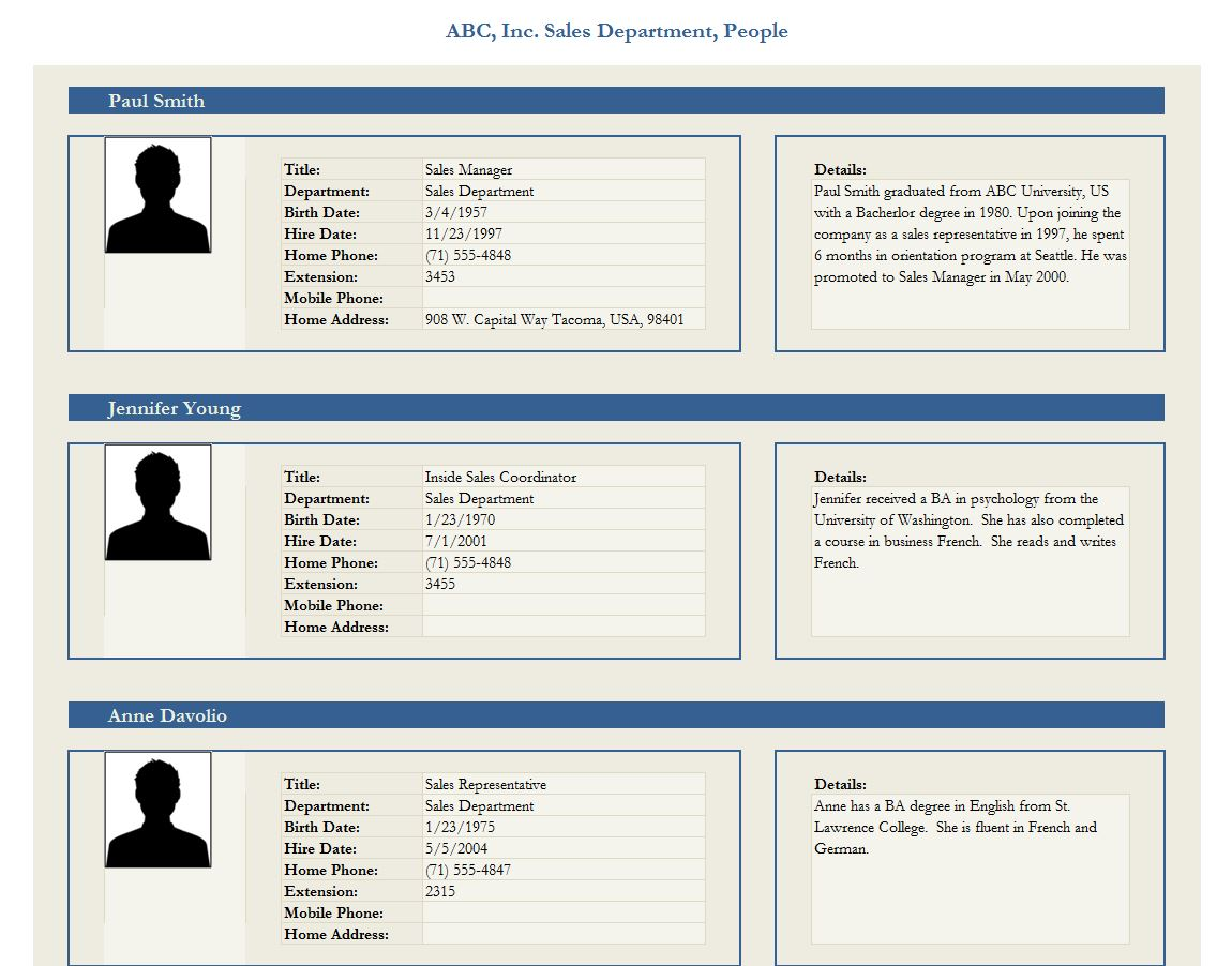 Photo of the Employee Profile Template