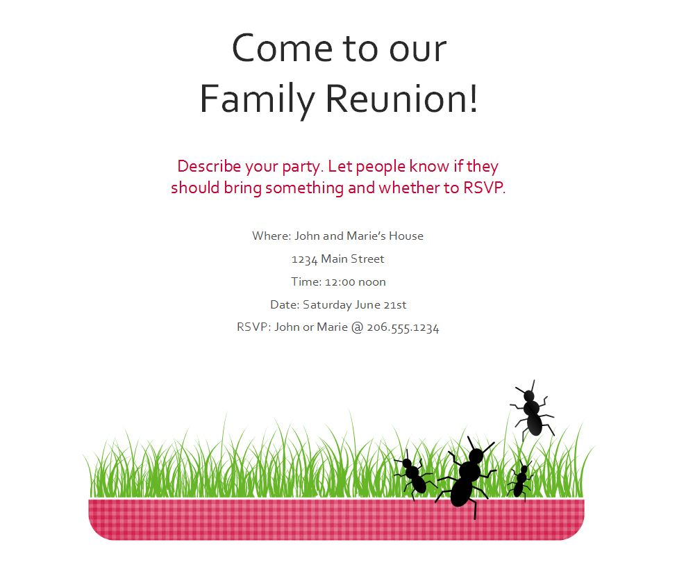 Screenshot of the Family Reunion Flyer Template