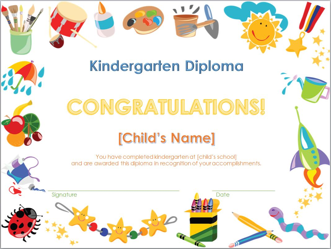 Peaceful image in kindergarten diploma printable