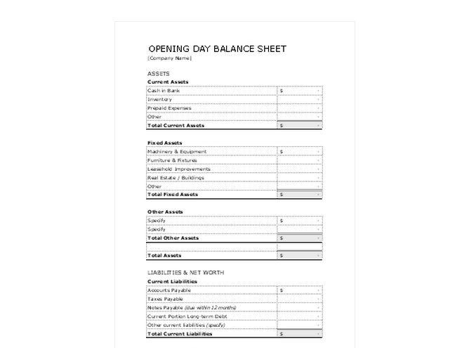 opening day balance sheet opening day balance sheet template