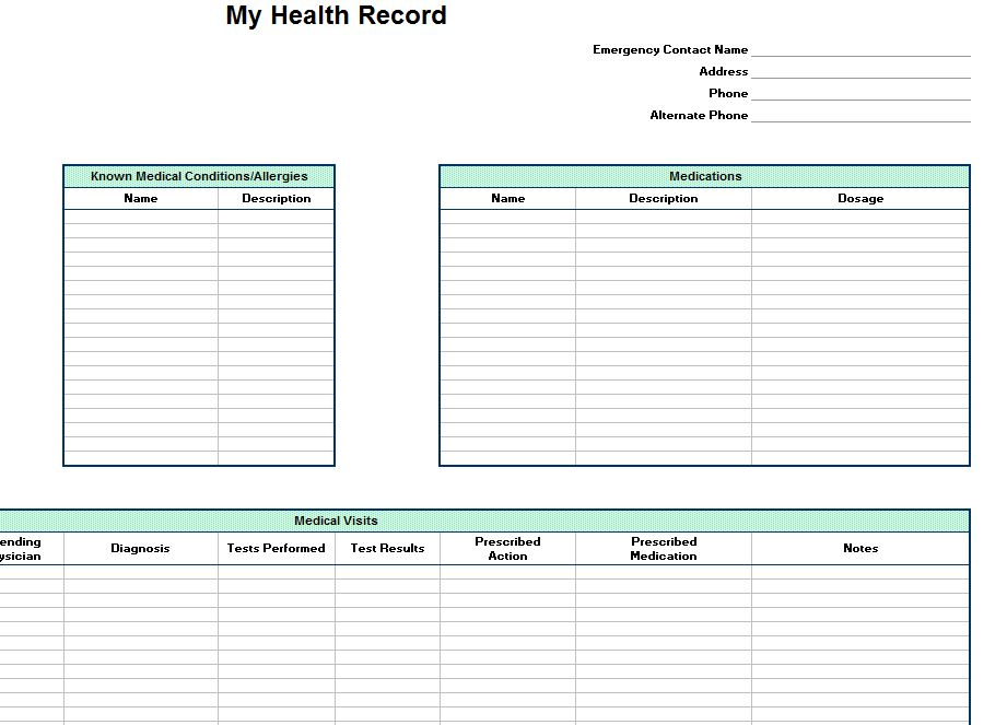 personal health record template