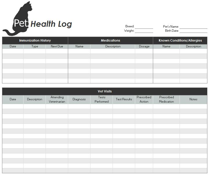 Printable pet health record free printable medical forms
