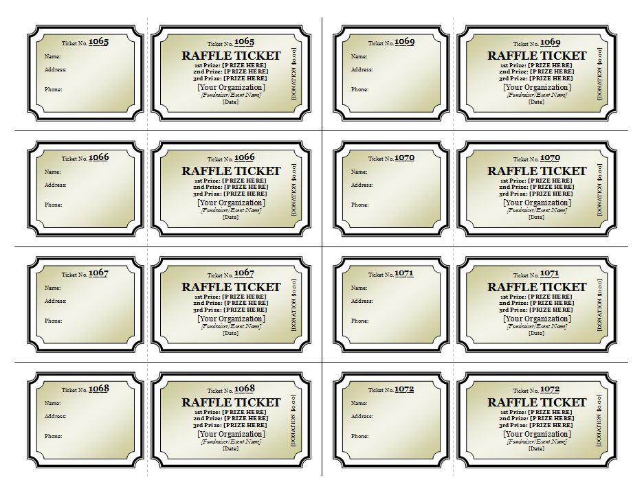 Raffle ticket template raffle tickets templates for Template for raffle tickets to print