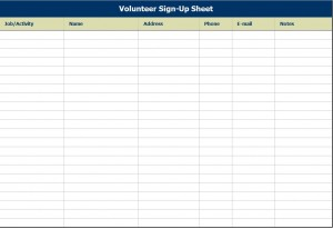Screenshot of the Volunteer Sign Up Sheet