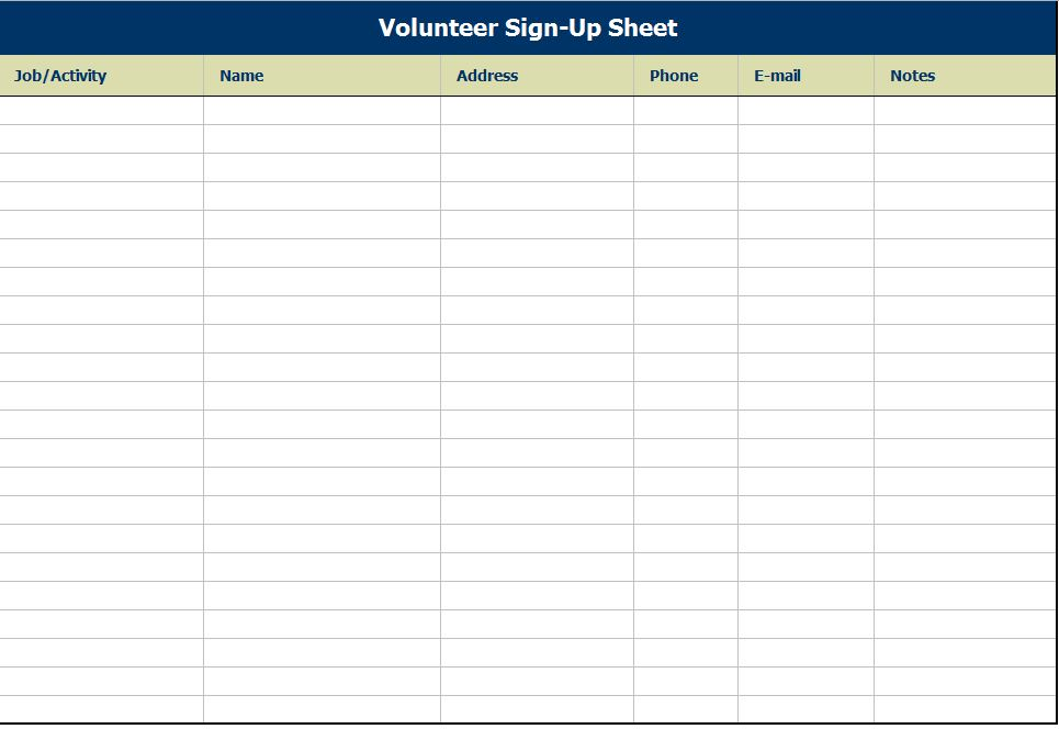 Volunteer Sign Up Sheet | Volunteer Sign Up Sheet Template