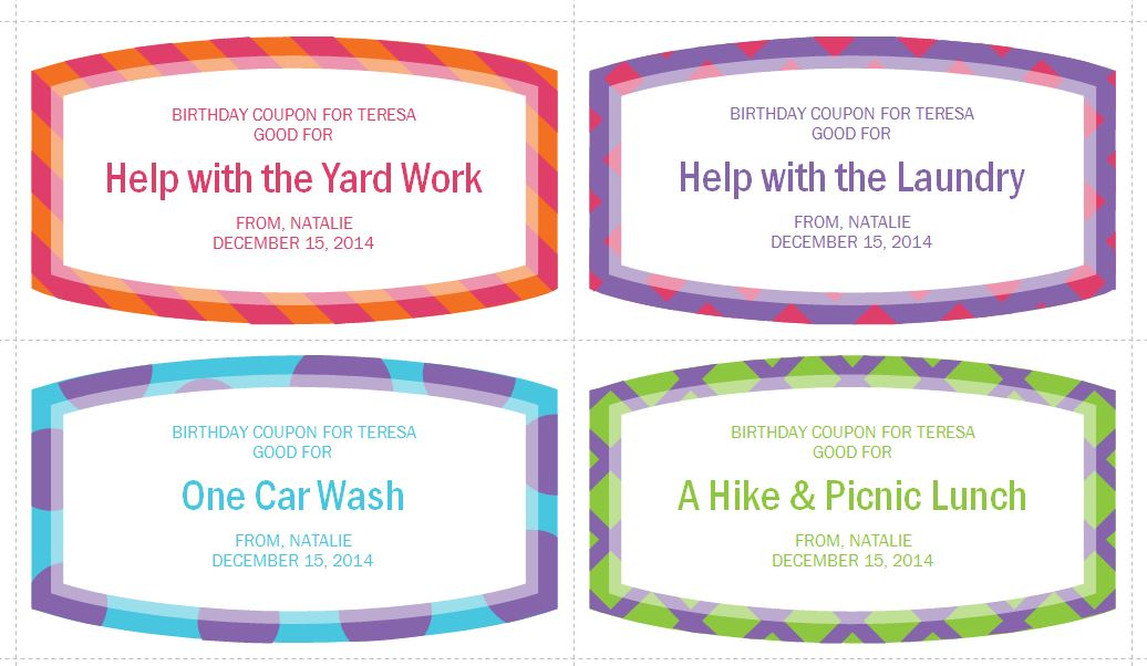 Personalized Coupon Template  Birthday Coupon Templates Free Printable
