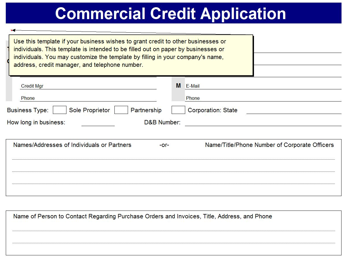 Business excel templates excel business templates for Credit applications templates