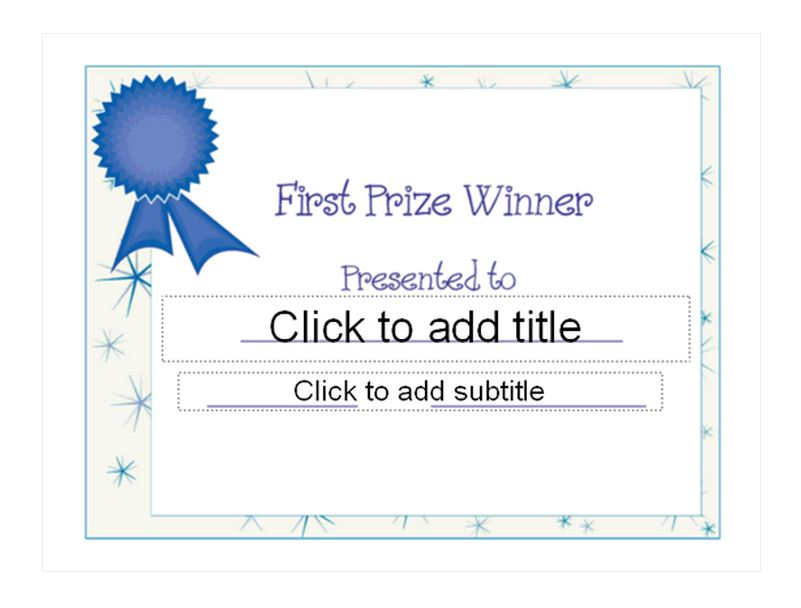 First place award template first place award for Prize certificates templates free