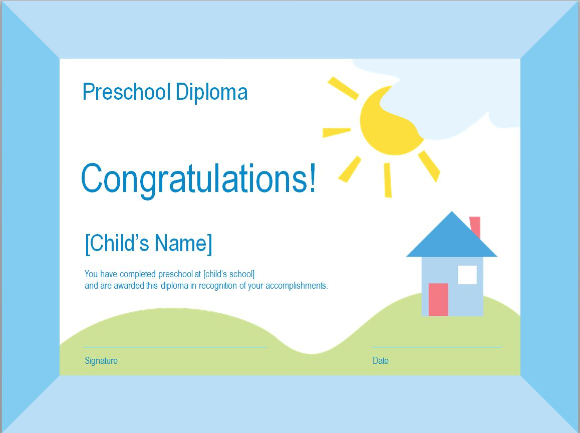 Preschool Diploma Template photo