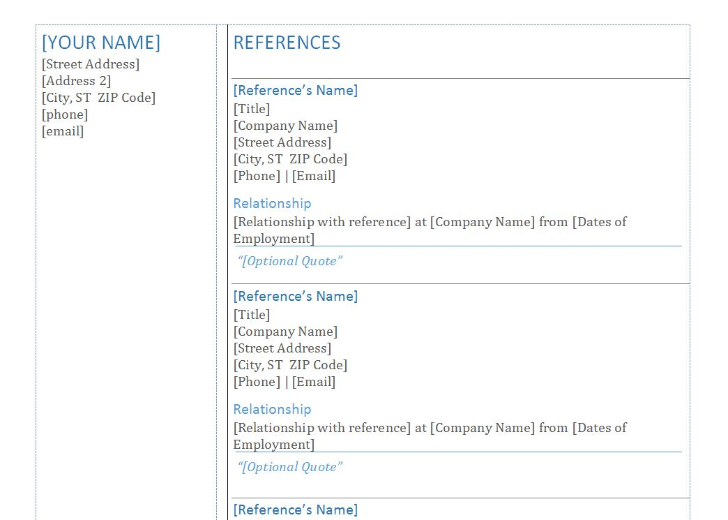 professional references template word example