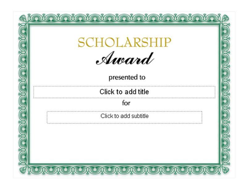 scholarship award template