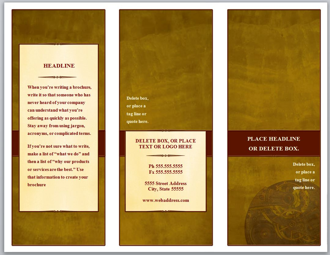 Tri fold brochure template for Template brochure