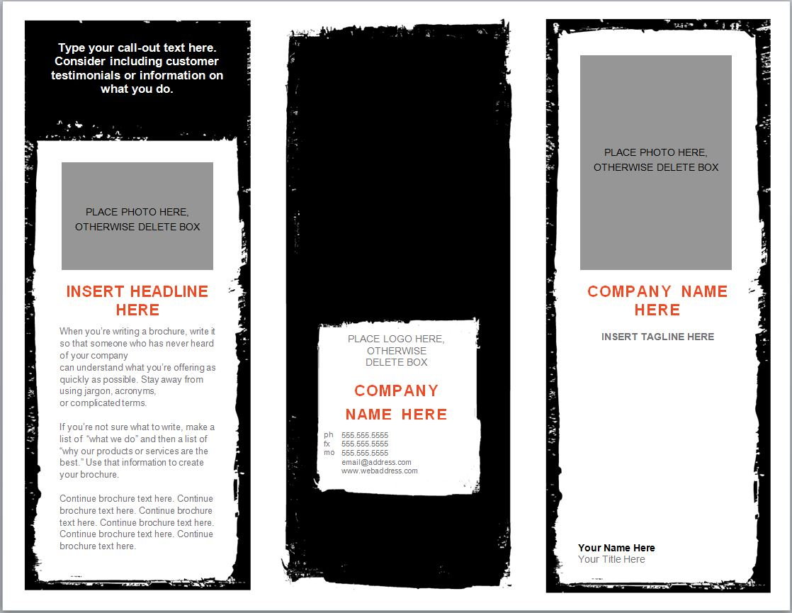 one page brochure template word - word brochure template brochure template word