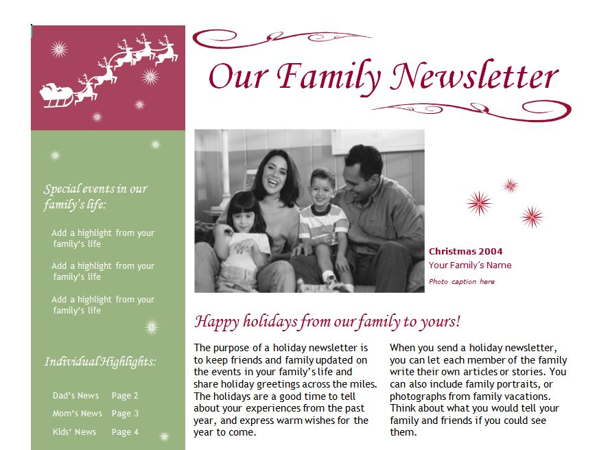 Holiday Newsletter Example  CityEsporaCo