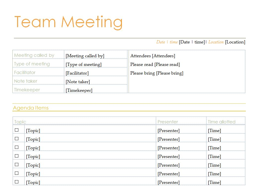 My Excel Templates  Best Meeting Agenda Template