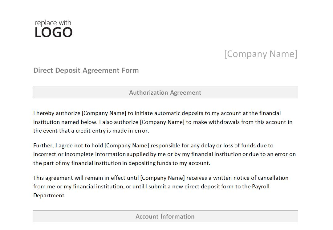 Direct Deposit Form Template | Direct Deposit Form
