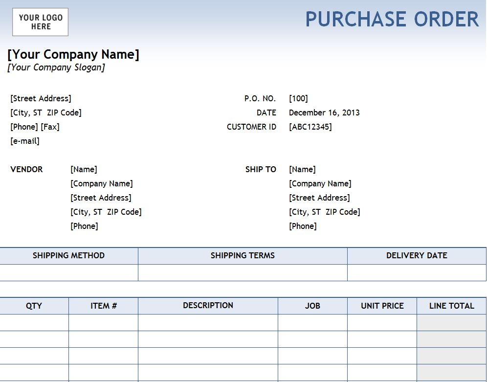 Excel Purchase Order Template Purchase Order Template Excel