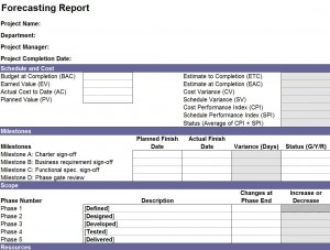 The Forecasting Report Template