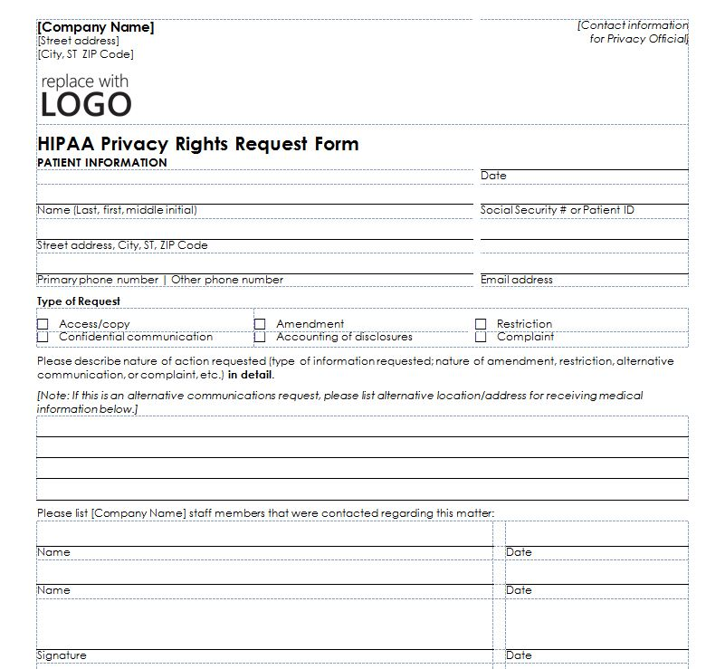 HIPAA Privacy Form – Employee Contact Information Template