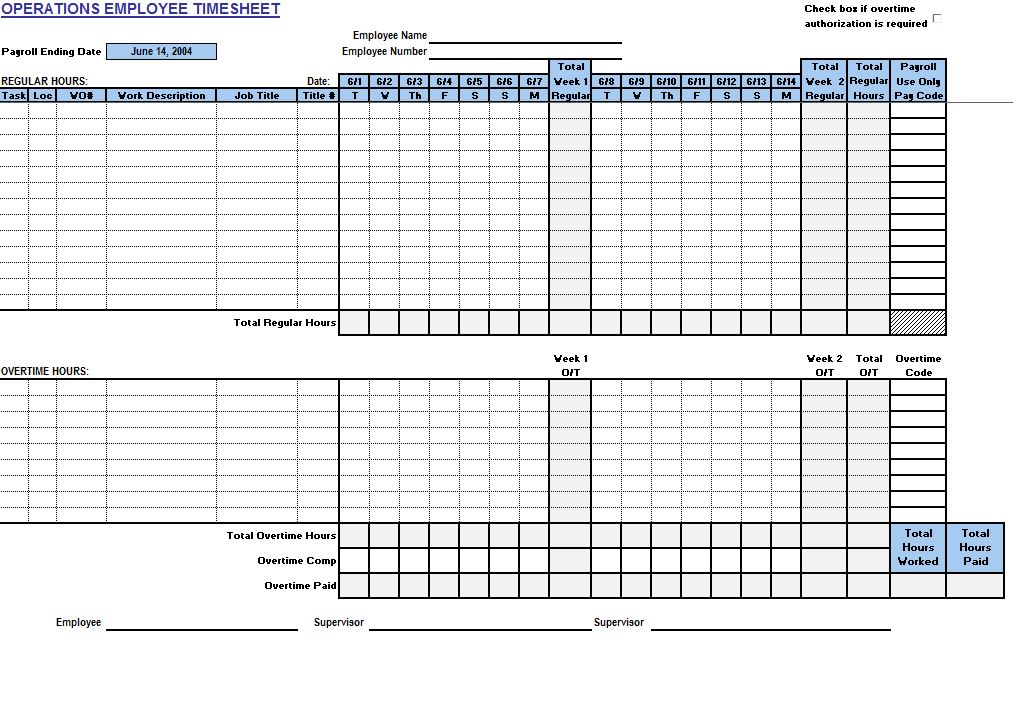 Operations Employee Timecard - My Excel Templates