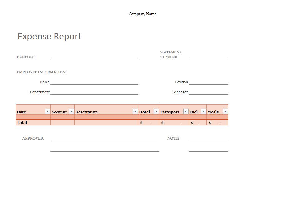 Simple Expense Report Template  Microsoft Expense Report Template