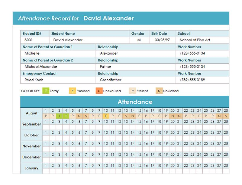 Student-Attendance-Template Template Cover Letter Fax Teachers Education Expense Sheet Size on