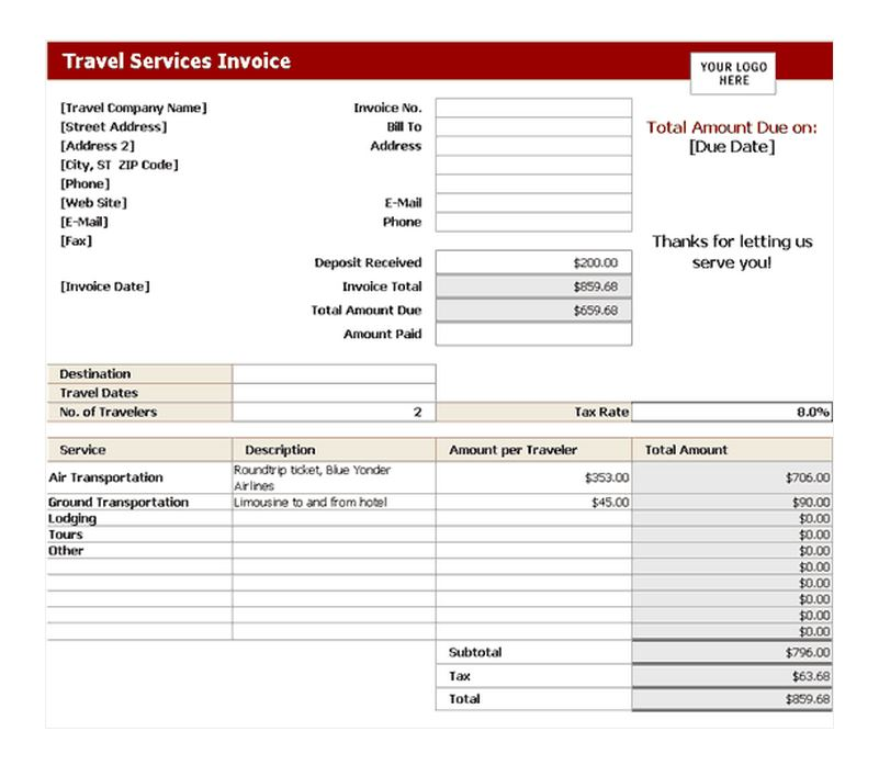 Travel Invoice Template Peellandfmtk - Free online receipts invoices for service business