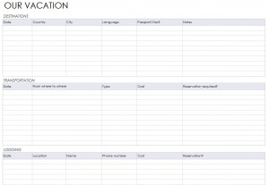 The Vacation Itinerary Planner